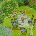 栗乃木ハルミの版画「庭ごはん」