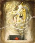 牧野鈴子の版画「Hoops」