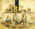 牧野鈴子の版画「きのうの子供たち」