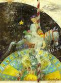 牧野鈴子の版画「プラネタリウム遊園地」