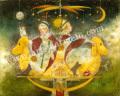「夜の遊園地」牧野鈴子の版画