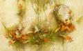 「花の夢」牧野鈴子の版画