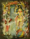 「流星サーカス団」牧野鈴子の版画