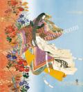 東聖観「野分花の嵐」源氏物語色紙