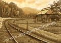 松本忠の版画「懐しさへとつづく道」