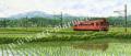 松本忠の版画「残雪の風背にうけて」