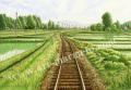 松本忠の版画「緑の道」