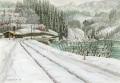 松本忠の版画「銀色の線路」