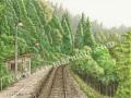 松本忠の版画「深緑(みどり)の中で」