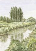 松本忠の版画「川沿いの散歩道」