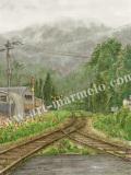 松本忠の版画「霧雨のスケッチ」