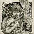 高田美苗の版画「少女と海月」