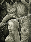 高田美苗の版画「狡猾な猫」