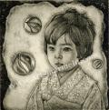 高田美苗の版画「幼き日、ガラスの夢」
