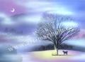 梅川紀美子の版画「霧の吊り橋」