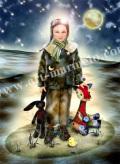横田美晴の版画「Lucky children」