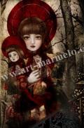 横田美晴の版画「doll×doll」