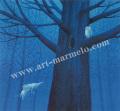 葉祥明の版画「はちぞうと森の賢者」
