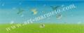 葉祥明の版画「はちぞうの夢の花園」