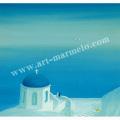 葉祥明の版画「エーゲ海の午後」