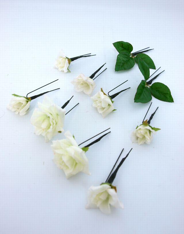 【アートフラワー ヘッドピース】ミニローズの髪飾りセット(ホワイト10本セット)