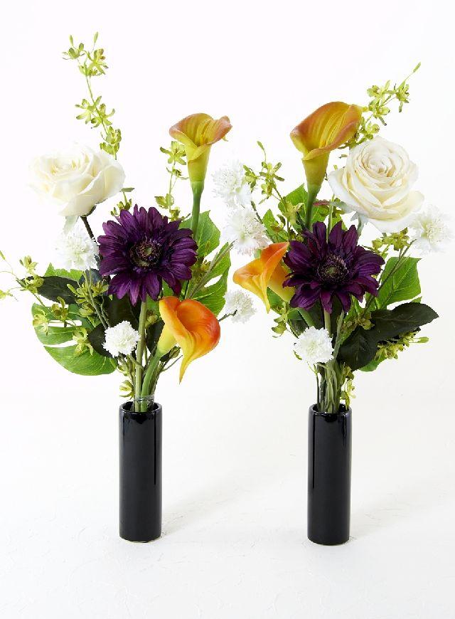 【造花の仏花・供花】ガーベラ&カラーのモダン洋風供花(左右1対セット)