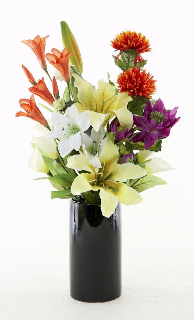 【墓前・仏前・供花】カサブランカのデザイン仏花-1束