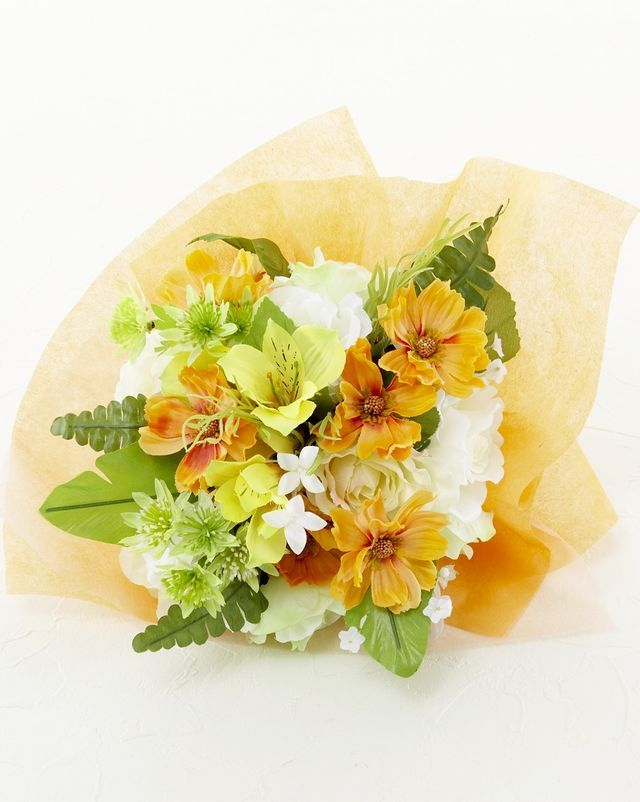 【造花 花束 】薔薇とアルストロメリアのイエローブーケ