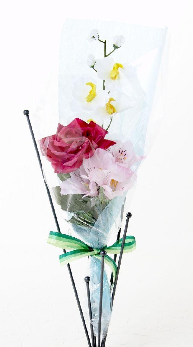 【造花 花束 】薔薇とアルストロメリアのピンクブーケ