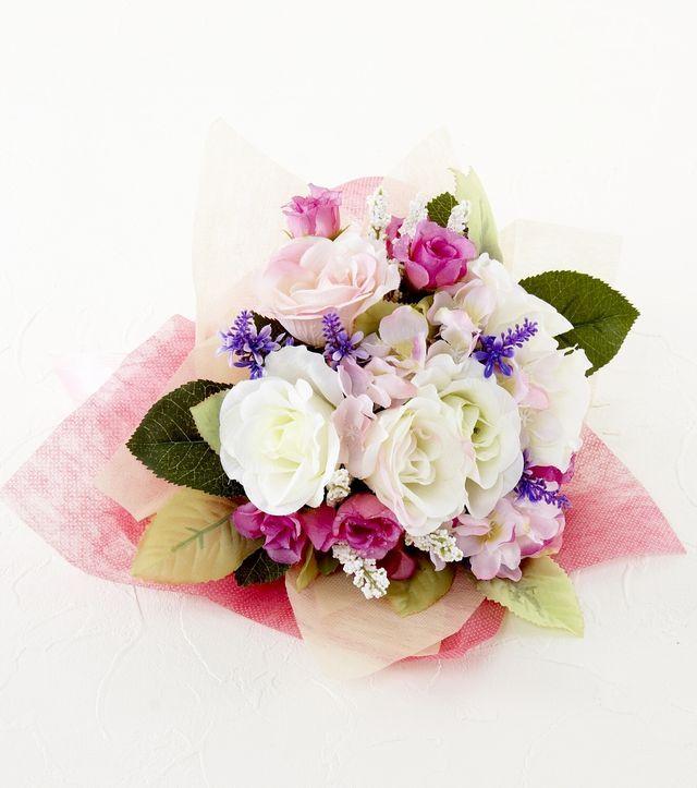 【造花 ブーケ花束 】ローズ&ラベンダーブーケ