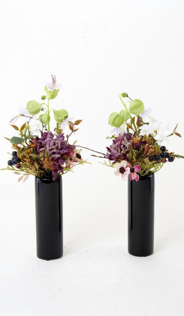 【造花 供花】大輪菊とデルフィニュームのプレミアム仏花-1対