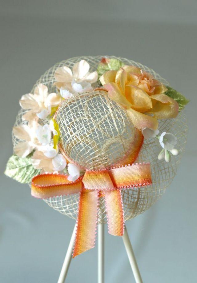 帽子のコサージュ&髪飾り(両用タイプ/パステルオレンジ)