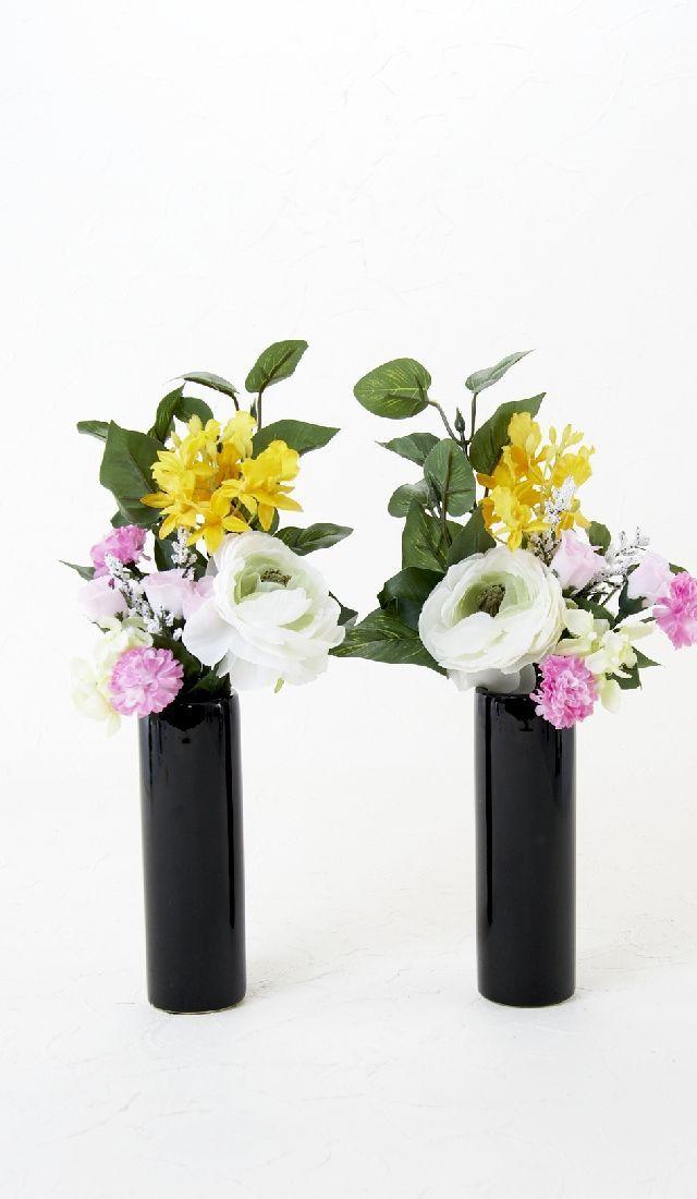 【造花 供花】ガーベラ&トルコキキョウ&のナチュラルミニ仏花セット(左右1対)
