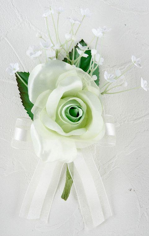 プリンセスローズ&かすみ草のコサージュ(ライトグリーン)