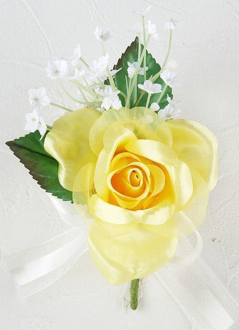 プリンセスローズ&かすみ草のコサージュ(イエロー)