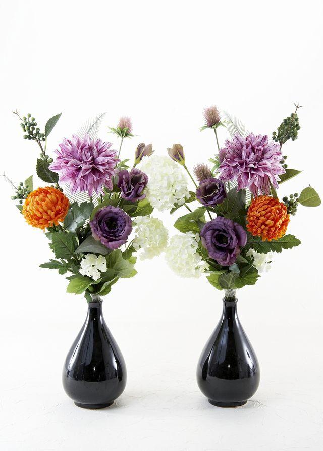 【造花の仏花・供花】百合&カサブランカの供花(左右1対-2束セット)