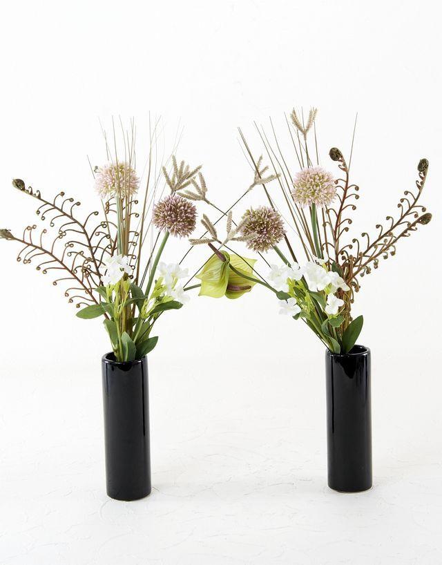 【造花 ミニ供花】ひまわり&コスモスのミニ仏花セット(左右1対)