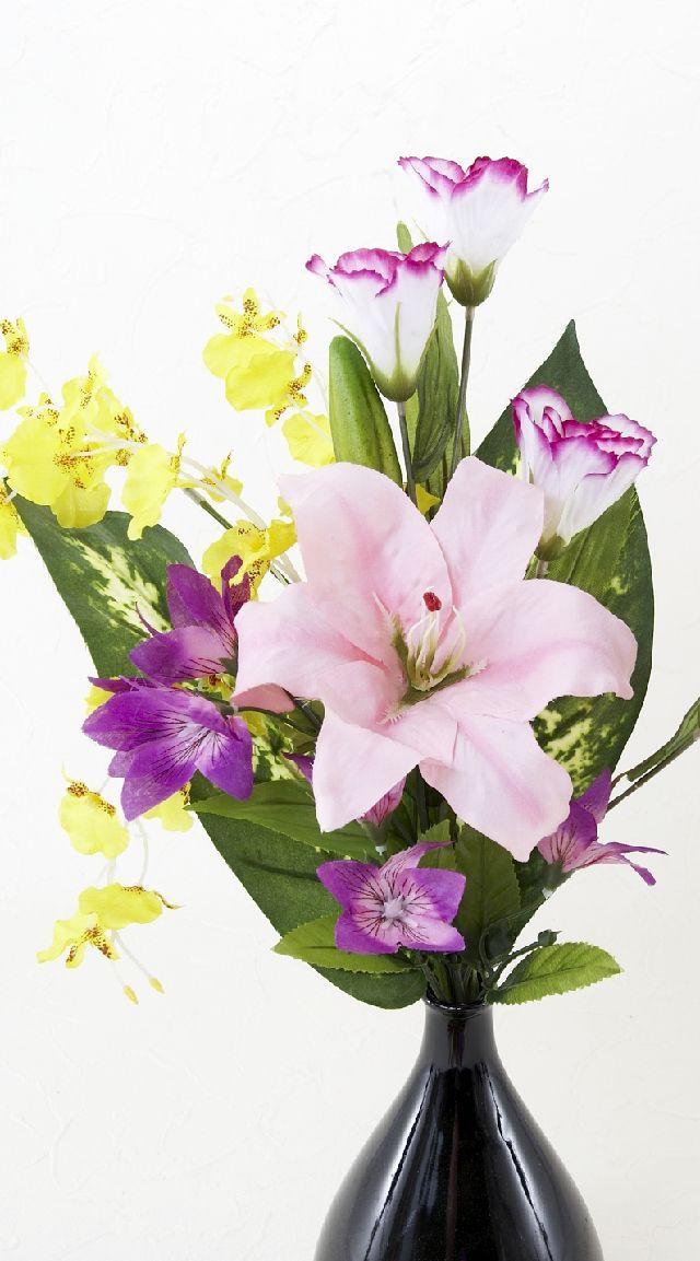 【造花の仏花・供花】ピオニー&ラナンキュラスのモダン供花(左右1対セット)
