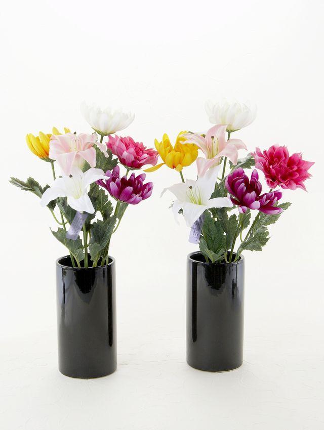 【お墓用造花】Newエコ仏花1対セットC(ホルダー付き)