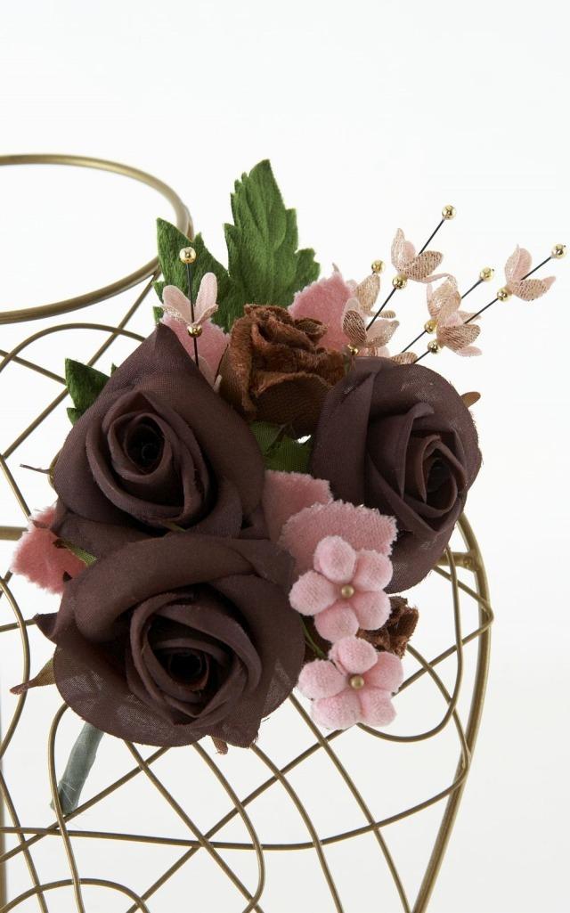 【10周年記念特別SALE価格】フォーマルコサージュ-ブラウン×ピンク