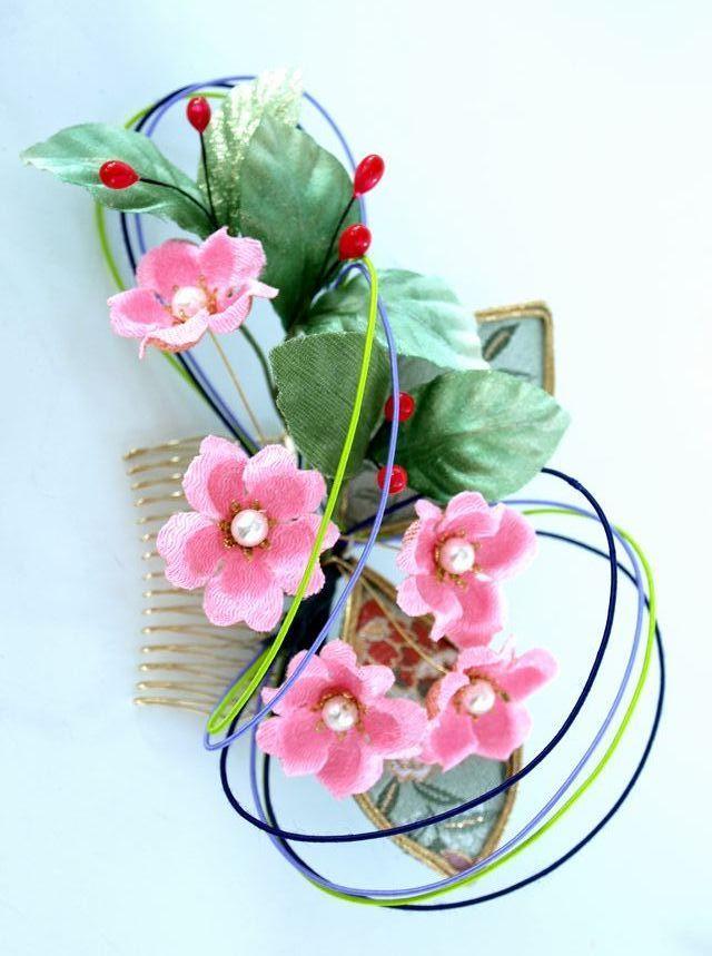 S-2004  和装髪飾り(コームタイプ)/ピンク系