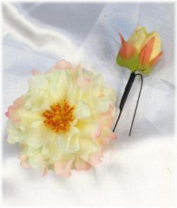 コサージュ&髪飾り(両用/Uピンセット)(リトルピオニー/クリームイエロー)
