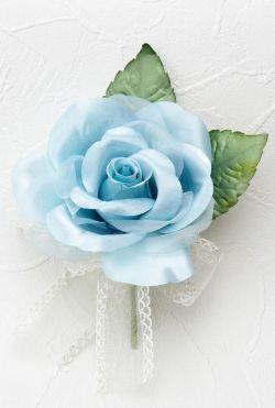 【数量限定 SALE コサージュ】プリンセスローズ(大)のコサージュ(ブルー)