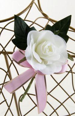 【お買い得SALEコサージュ】ミニバラ−ホワイト(1輪タイプ)