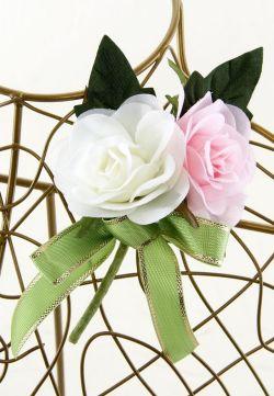 【お買い得SALEコサージュ】ミニバラ−ホワイト×ピンク(2輪タイプ)