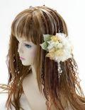 【特価SALE 髪飾り・ヘアアクセサリー】紫陽花−ライムグリーン×イエローオレンジ・バレッタ