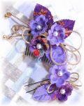 S-2044 和装髪飾り2点セット(花舞/紫×藤)