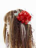 【特価SALE 髪飾り・ヘアアクセサリー】紫陽花−ビューティーレッド・バレッタ