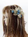 【特価SALE 髪飾り・ヘアアクセサリー】和洋両用−ゴールドアクア・コーム