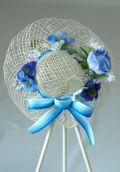 帽子のコサージュ&髪飾り(両用タイプ/ブルー系)